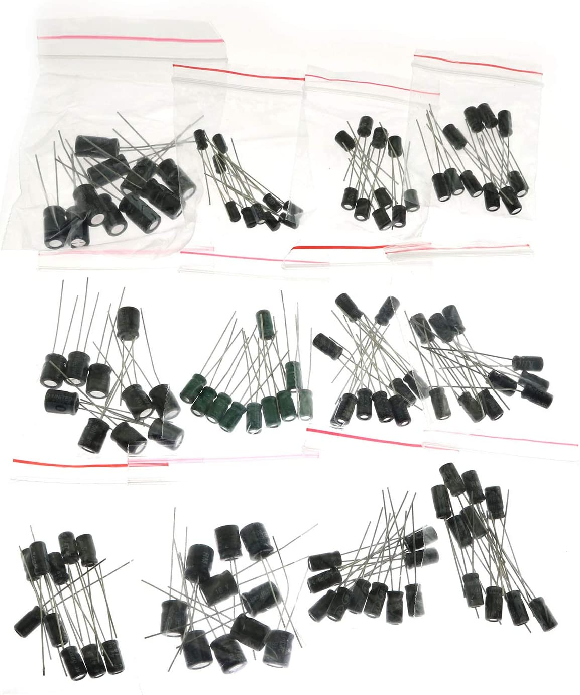 RLECS 120-Pack 0.22UF-470UF Aluminum Electrolytic Capacitor Assorted Assortment Kit Set Commonly Used Electronic Component 12 Values