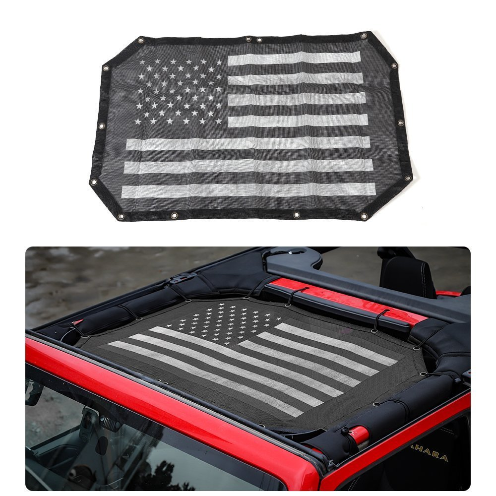 YOCTM Mesh Shade Top Cover UV Sun Protection for Jeep Wrangler JK 2007-2018 2 Door (Canadian Flag)