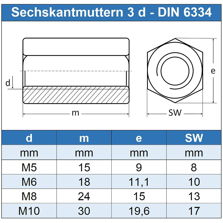 rostfrei Edelstahl A2 V2A Eisenwaren2000 5 St/ück - 3 d hoch Lang-Mutter DIN 6334 M10 Sechskantmuttern