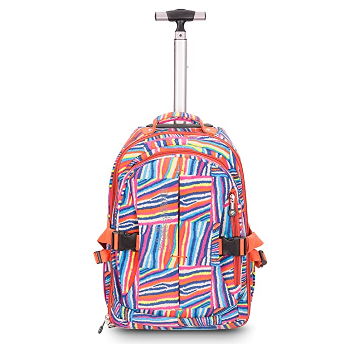 82fb722c29bb 19 inches Multifunction Waterproof Wheeled Rolling Backpack for Girls and  Boys School Books Bag by HollyHOME