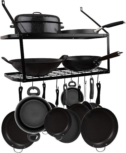 color negro organizador para ollas de hierro Soporte para sartenes