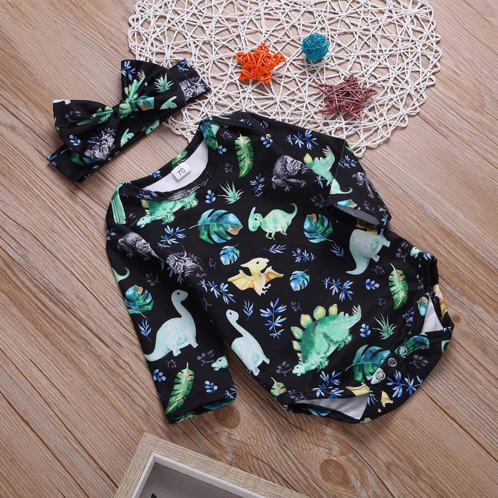 GoodLock Baby Boys Girls Clothes Set Toddler Dinosaur Print Romper Jumpsuit+Headbands Outfit 2Pcs