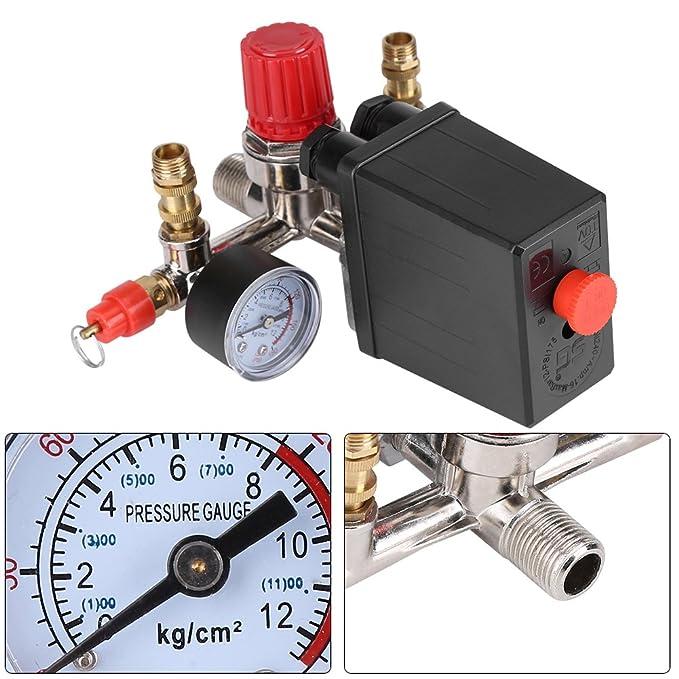 Regulador de Presión de Válvula de Presión Interruptor de Presión Válvula Reguladora con Manómetro Dobles 90-120 PSI para Compresor de Aire: Amazon.es: ...