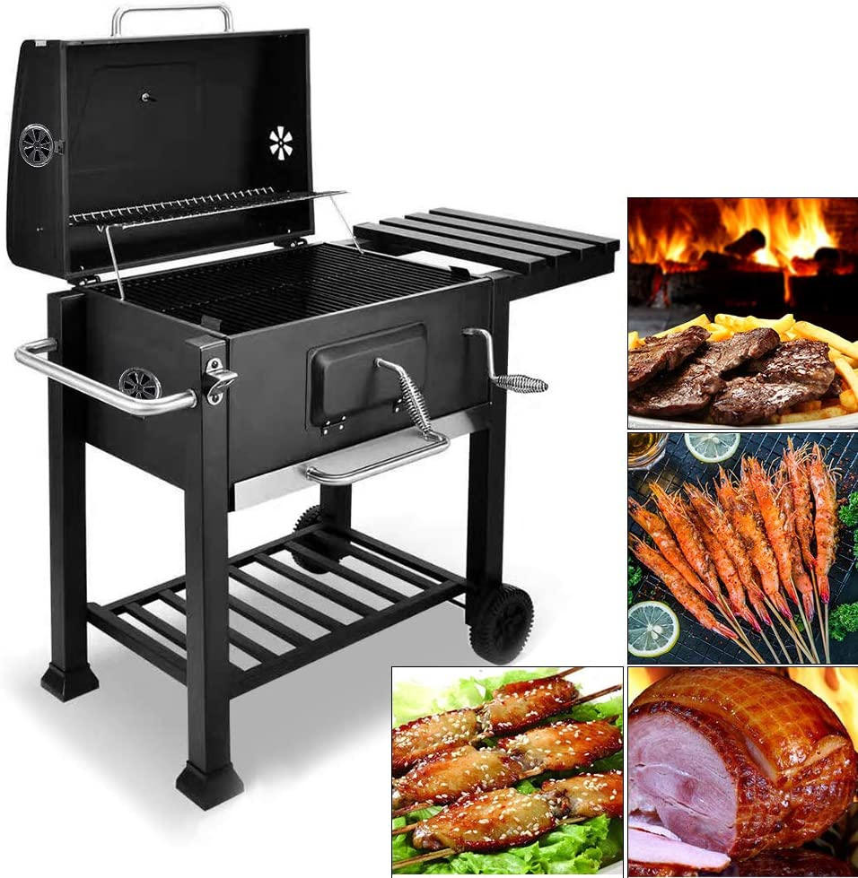 bigzzia BBQ Grill Charcoal Barbecue Grill with Side Shelf and Hook For Outdoor Backyard Cooking
