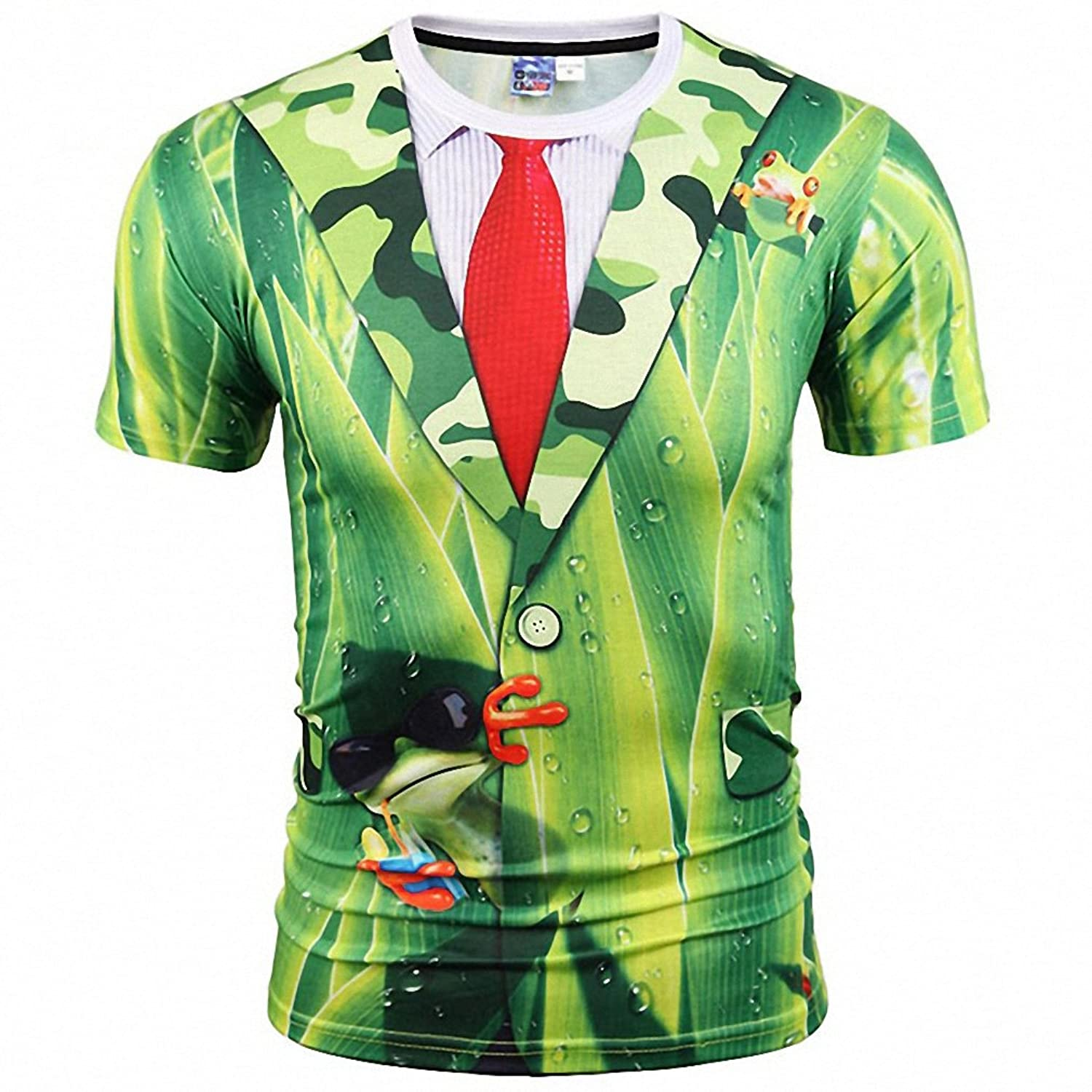 ICONLEE Nice Stylish T-shirt Men/Women Tees Shirts Print Green Leaves Suit Jacket Fake Two Pieces 3d T-shirt Summer Tops at Amazon Womens Clothing store: