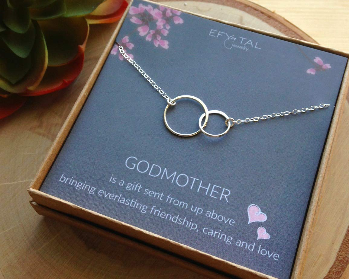 EFYTAL Godmother Gifts from Godchild Sterling Silver Interlocking Circle Necklace Proposal Gift for Girl Baptism by EFYTAL (Image #6)