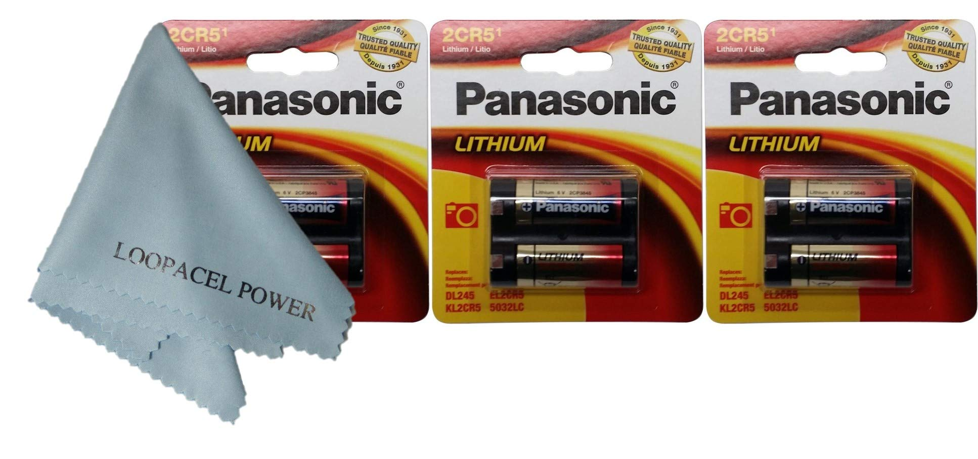 Panasonic 2CR5 6-Volt Photo Lithium Cylinder Batteries 2CR5M 3 Pack, with Cloth by My Battery Supplier