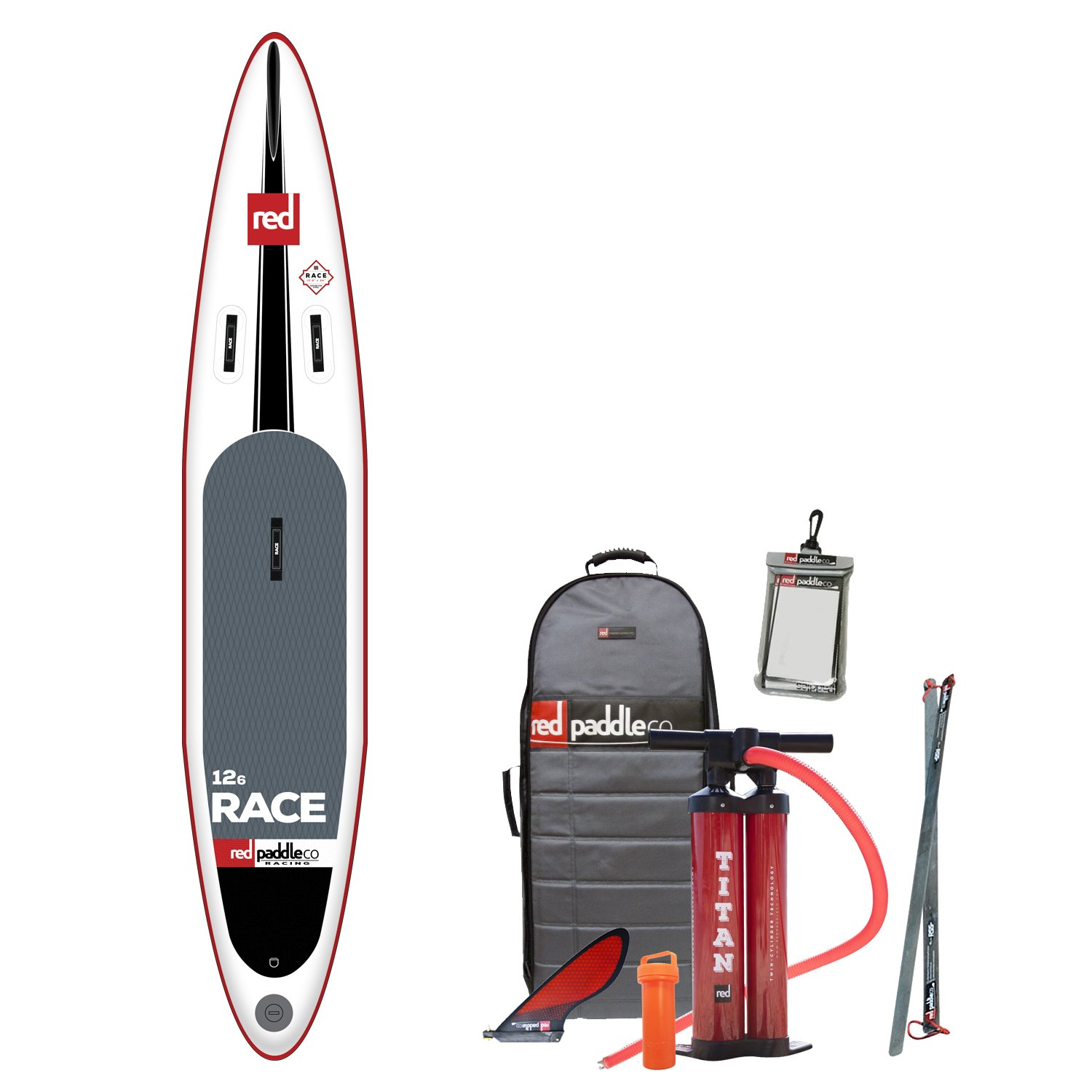 2017 Red Paddle Co 126 Race Inflatable Stand Up Paddle Board + Bag Pump Paddle & LEASH: Amazon.es: Deportes y aire libre