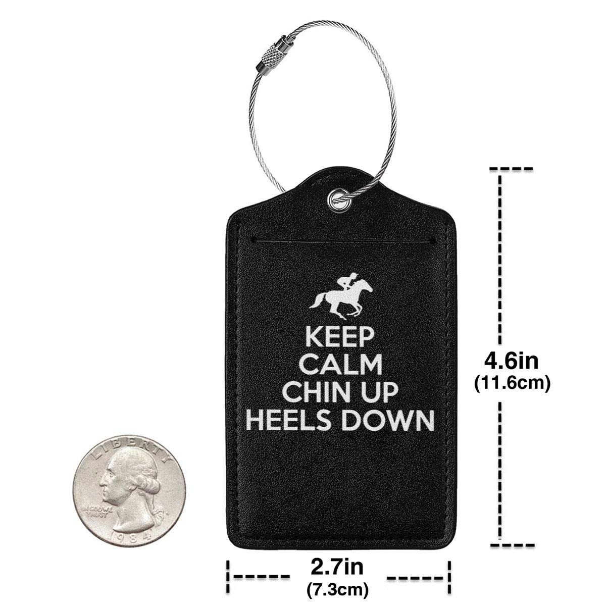 Keep Calm Chin Up Heels Down Horse Riding Leather Luggage Tag Travel ID Label For Baggage Suitcase