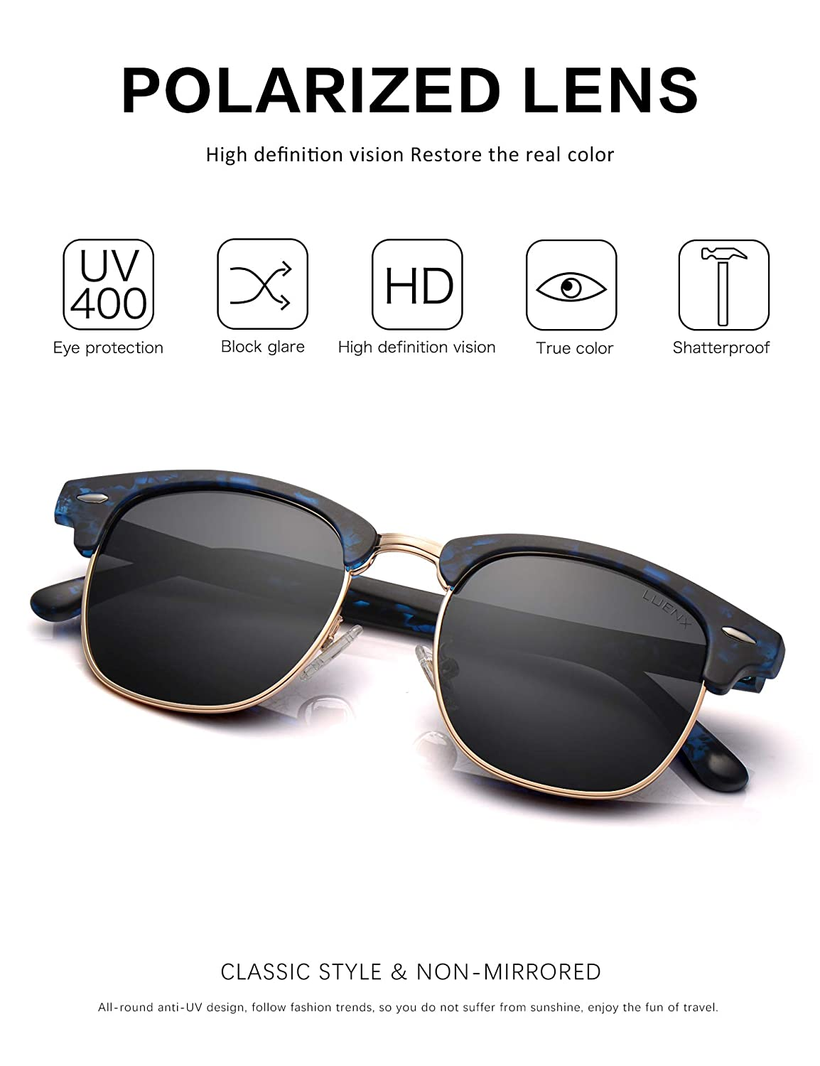a89ca8b808 Amazon.com  LUENX Men Semi Rimless Polarized Sunglasses Women UV 400  Protection Black Lens Tortoise Blue Retro Frame 51MM with Case  Sports    Outdoors