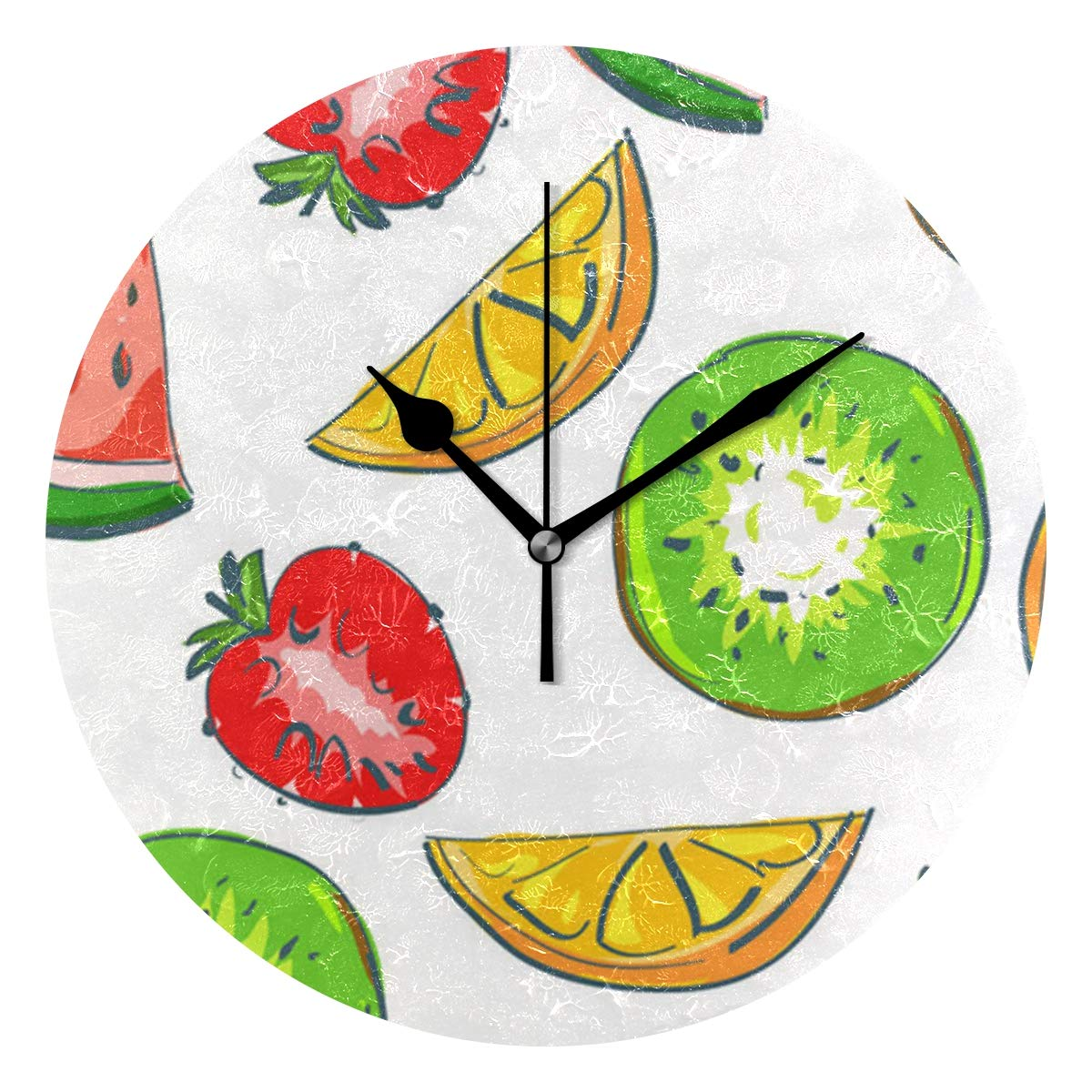 Ladninag Wall Clock Fruits Everyday Silent Non Ticking Decorative Round Digital Clocks Indoor Outdoor Kitchen Bedroom Living Room