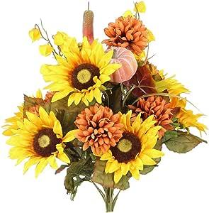 Admired By Nature ABN3B002-GD 18 Stems Home Office/Wedding/Restaurant Decoration Arrangement Artificial Sunflower/Mum/Zinna Flowers Bush, 2. Gold Mix