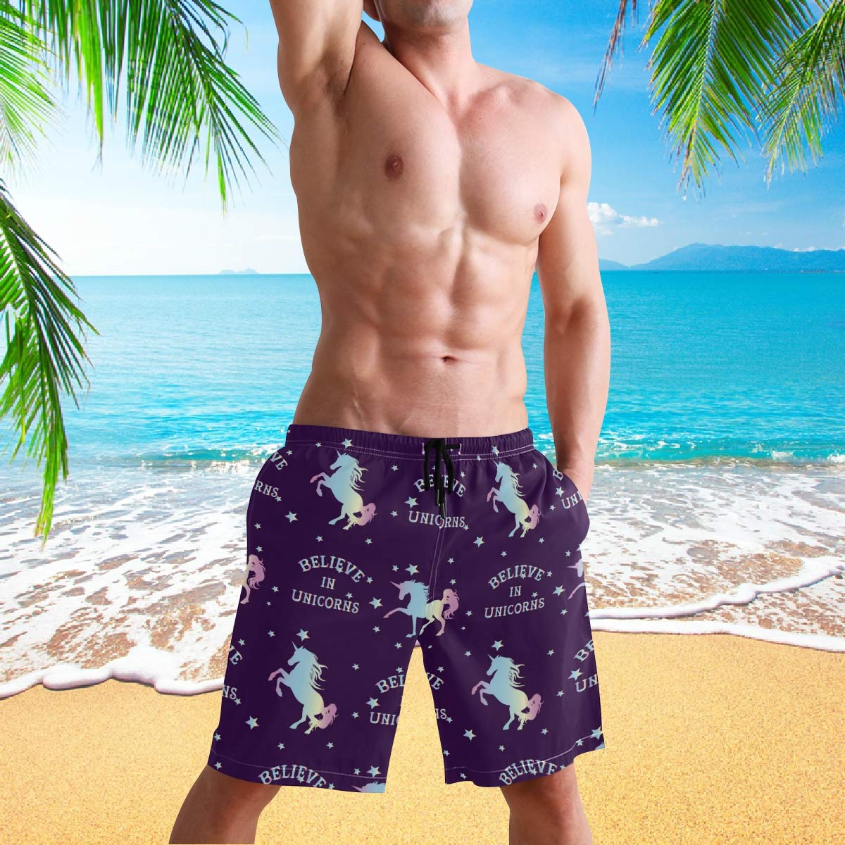 visesunny Believe in Unicorn Print Summer Mens Swim Trunks Quick Dry Bathing Suits Beach Holiday Party Board Shorts