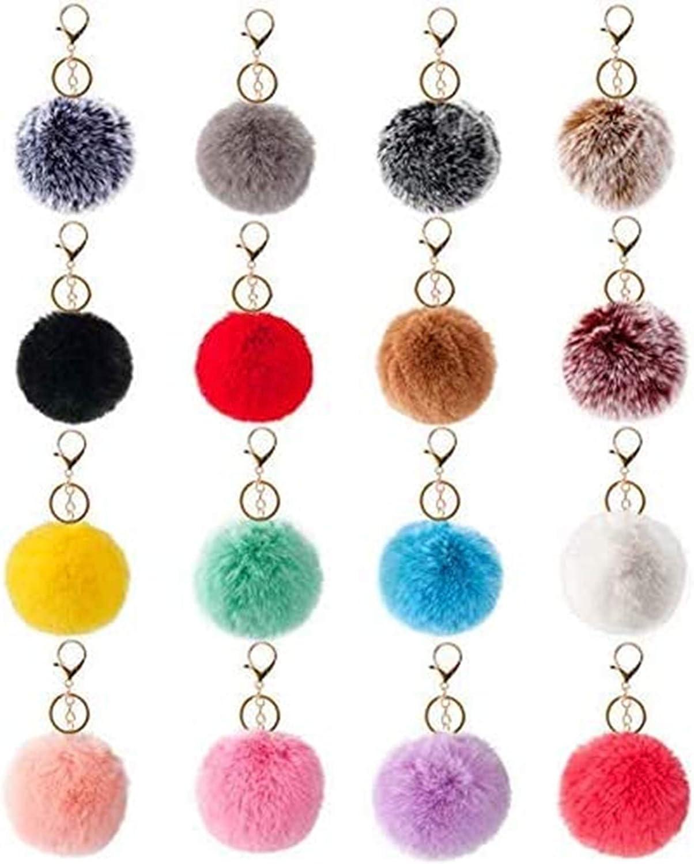 Girls Rainbow Keyring Pendant Handmade Knitting Pom Pom Balls Handbag Key Chain