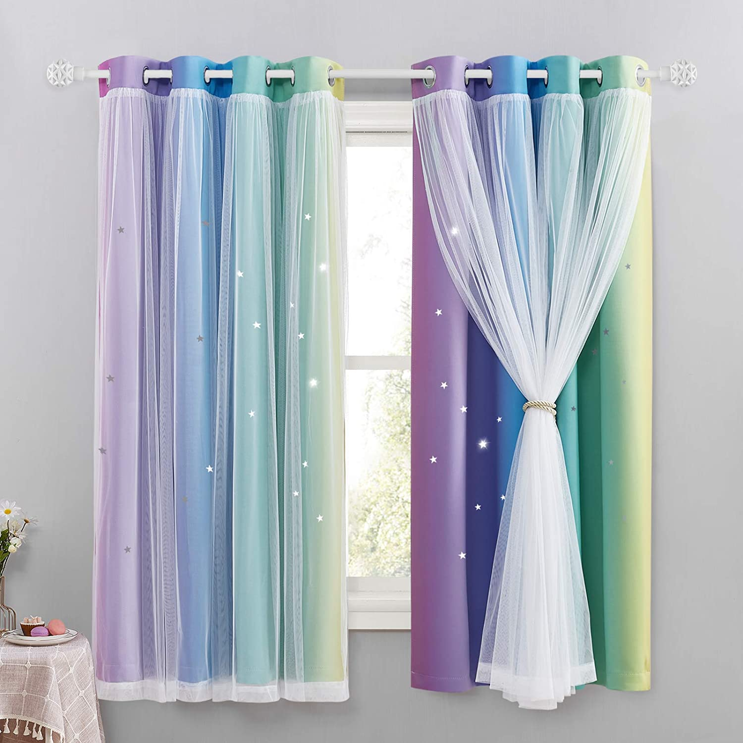 NICETOWN Bedroom Girls Curtains with Net - Kids Blackout Curtain with Hollow Out Design Mix Net Voile for Large Window Nursery Star Drapes for Girl