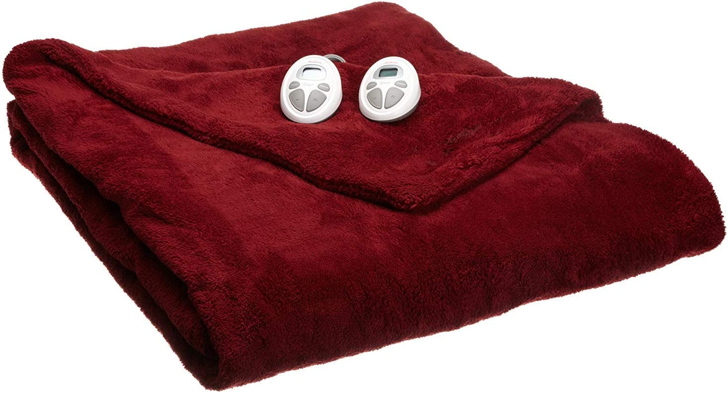 Sunbeam Luxurious Premium Plush King Electric Heated Blanket, Auto Shut-Off, 20 Heat Settings,Two Controllers, King (Red)