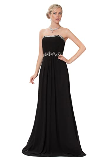 Feminine Strapless Beaded Black Long Evening Prom Dress UK NEXT DAY DELIVERY (UK8)