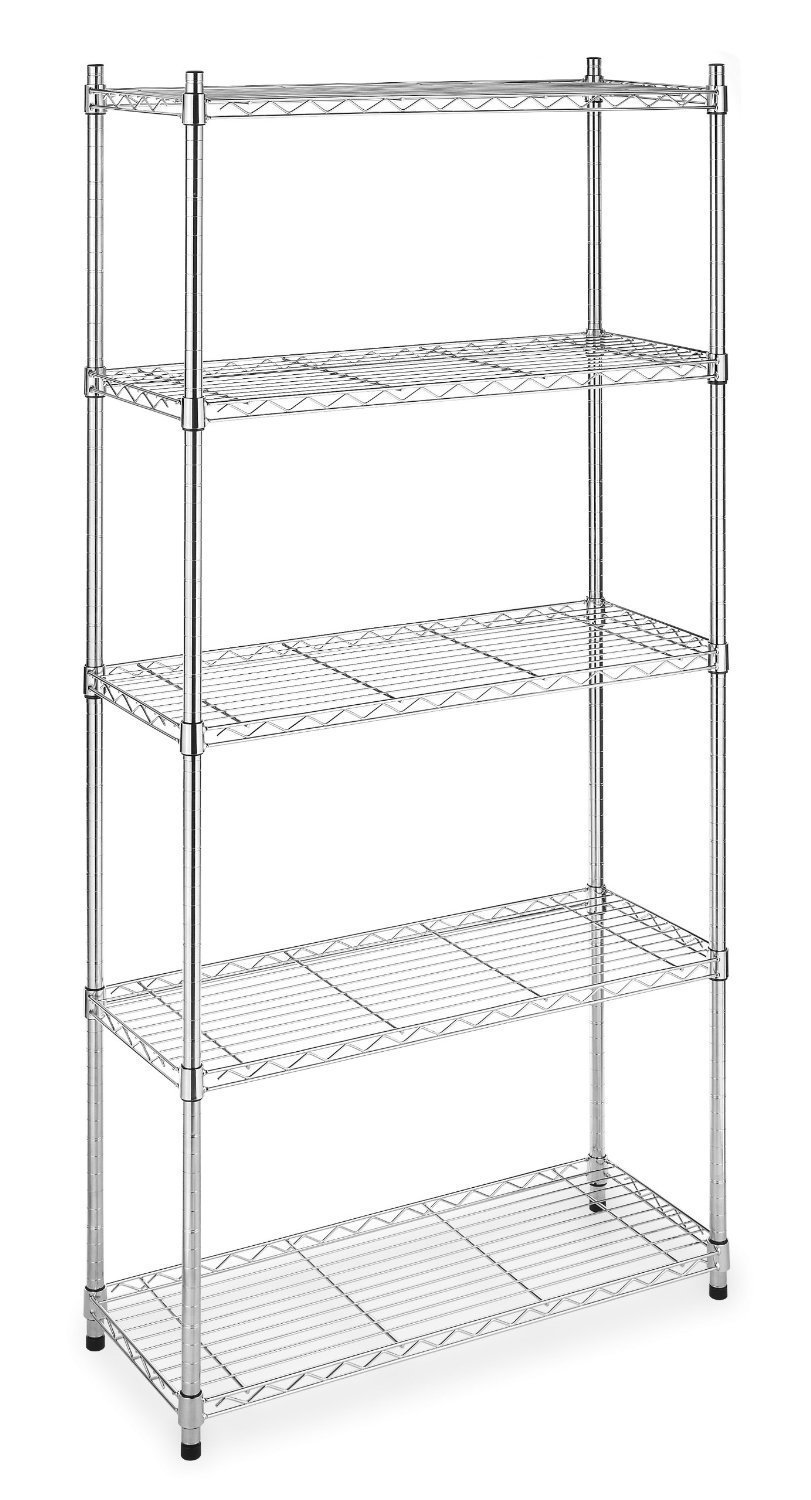 Halter ETI-001 5 Tier Storage Shelves for Kitchen / Garage / Office - NSF Approved for Commercial Use - 72'' X 36'' X 14'' - Chrome