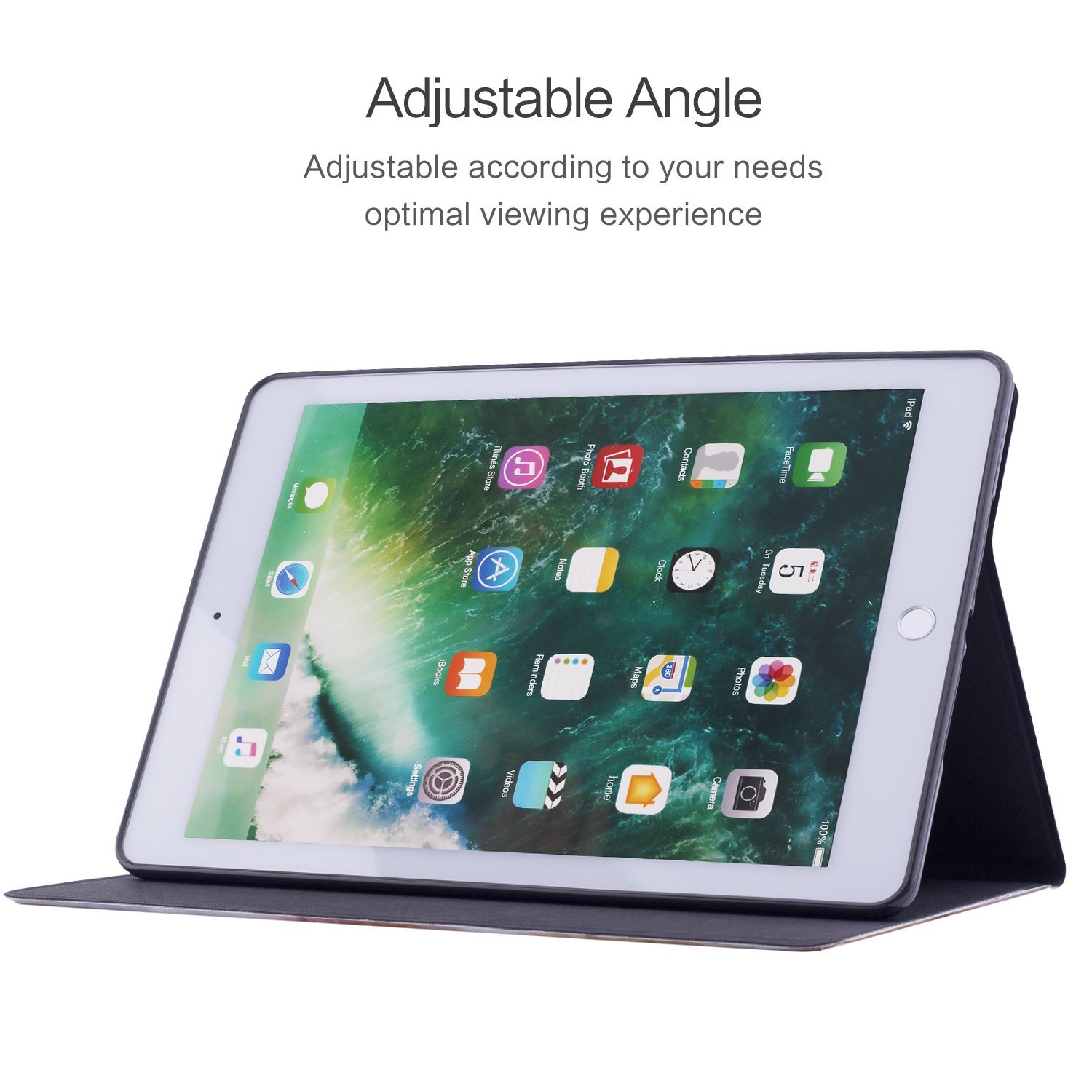 Dopup iPad 9.7 inch 2018 2017 Case, Shock-Absortion TPU Cover with Multiple Viewing Angles Stand for Apple iPad 6th Gen, 5th Gen (Marble Hill)