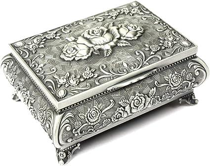 H S Metal Antique Ring Necklace Jewellery Trinket Display Storage Vintage Box Case 3 Rose Top Amazon Co Uk Kitchen Home