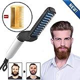 Beard Straightening Comb Electric Beard Hair Comb for Men Straightening Comb Curly Hair straightener Curler Comb Men's Style Magic Massage for DIY Flexible Modeling Natural Side Hair Detangling