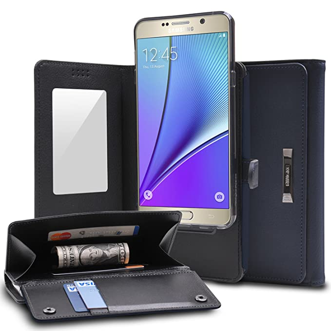 new concept 21a44 43e33 Galaxy Note 5 Case, Ringke Wallet [NAVY] Full Purse Case, Camera Slide,  Card Slot Holder, Premium PU Leather, Flip Mirror, All Around Protective ...