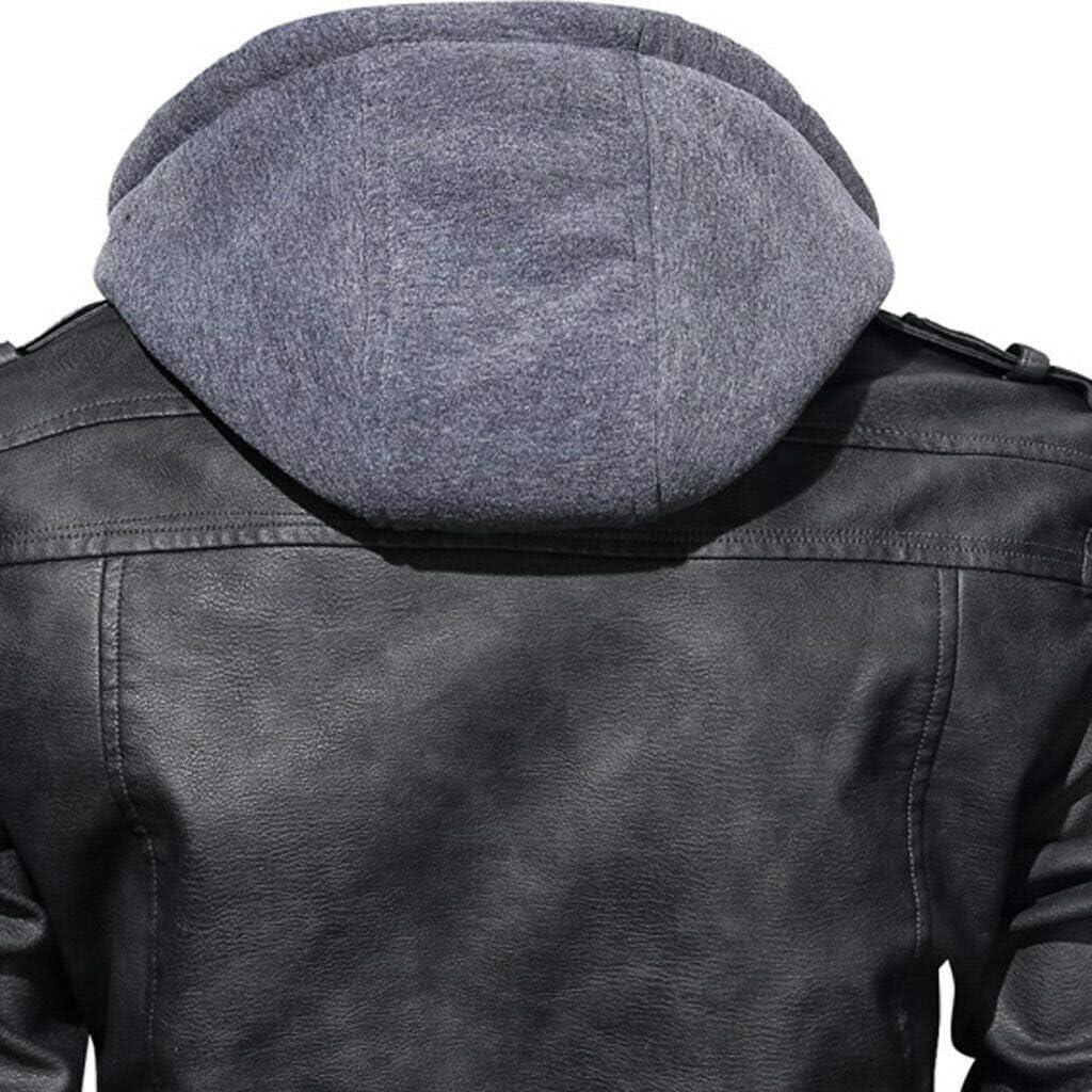 2020 anarchiste Hommes Veste en Cuir à Capuche Moto Manteau Motard PU Veste Outwear