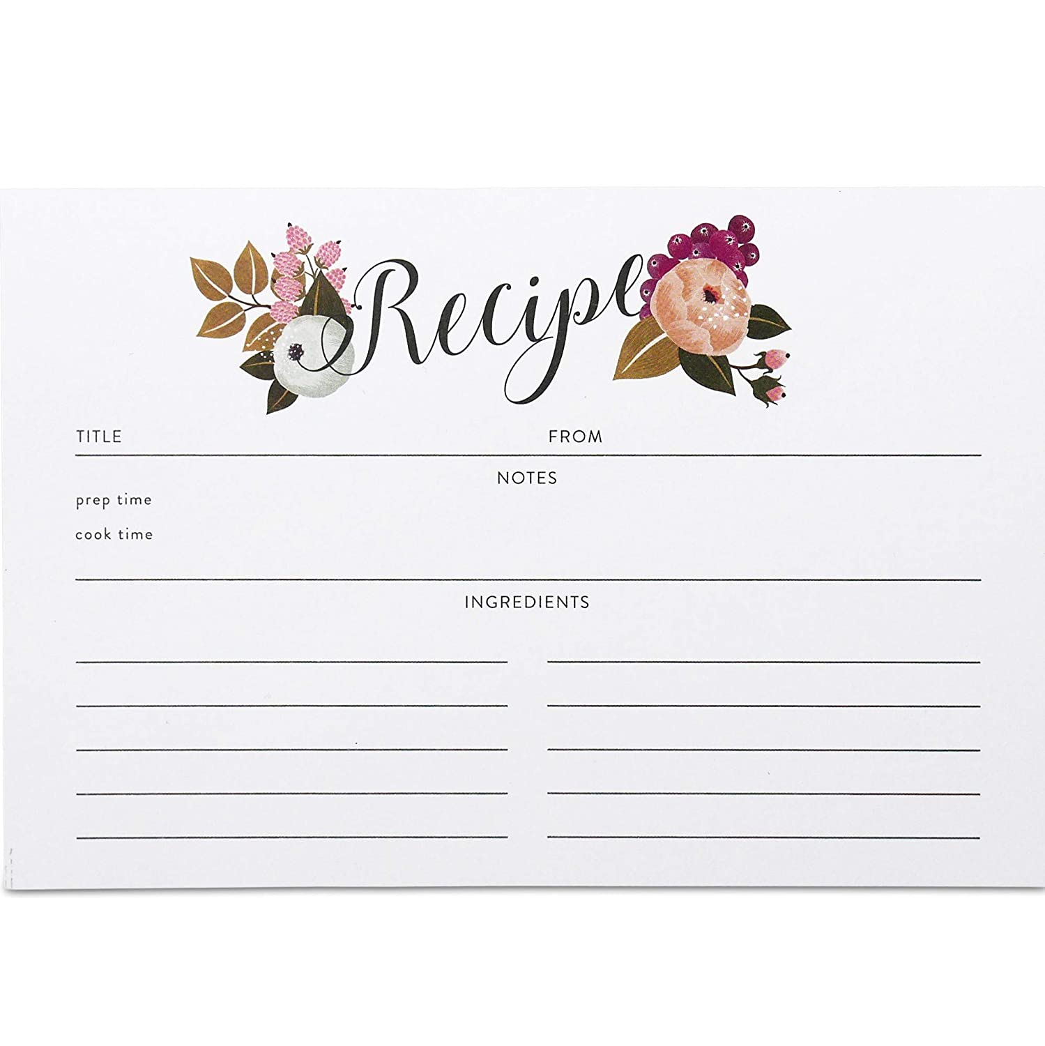 Polite Society Recipe Cards Refill Set 55 Double Sided Recipe Cards, 4x6 inches. Thick Card Stock by Polite Society Floral Recipe Card Set Blank