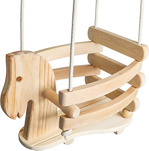 Wooden Horse Toddler Swing Set - Baby Swing Outdoor & Indoor - Smooth Birch Wood with Natural Finish & Cotton Ropes - Eco-Conscious Toddler Bucket Swing Chair, 6 Months to 3 Years