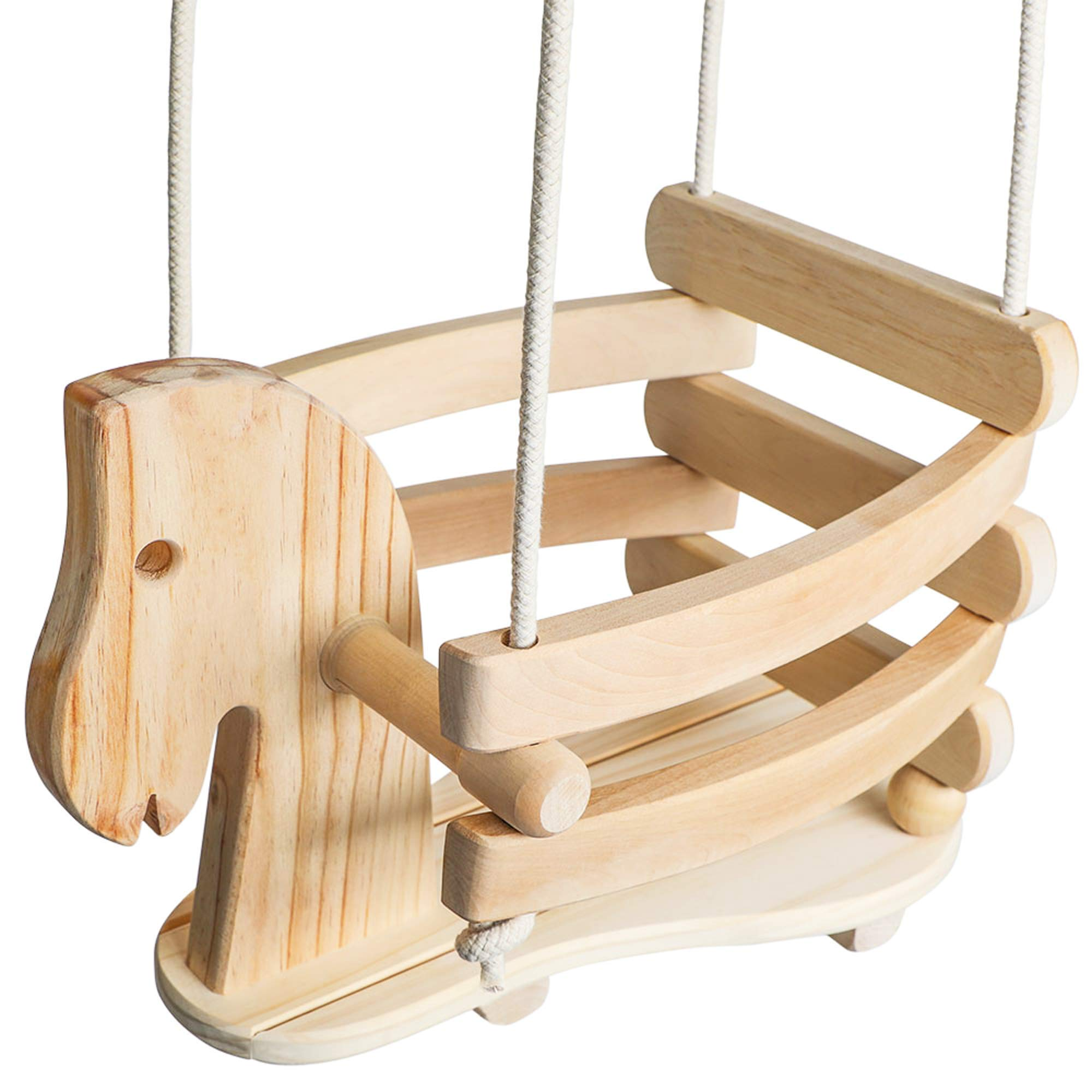 Wooden Horse Toddler Swing Set - Baby Swing Outdoor & Indoor - Smooth Birch Wood with Natural Finish & Cotton Ropes - Eco-Conscious Toddler Bucket Swing Chair, 6 Months to 3 Years by Ecotribe