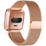 Luxury Milanese Magnetic Loop Stainless Steel Watch Band Strap For Fitbit Versa