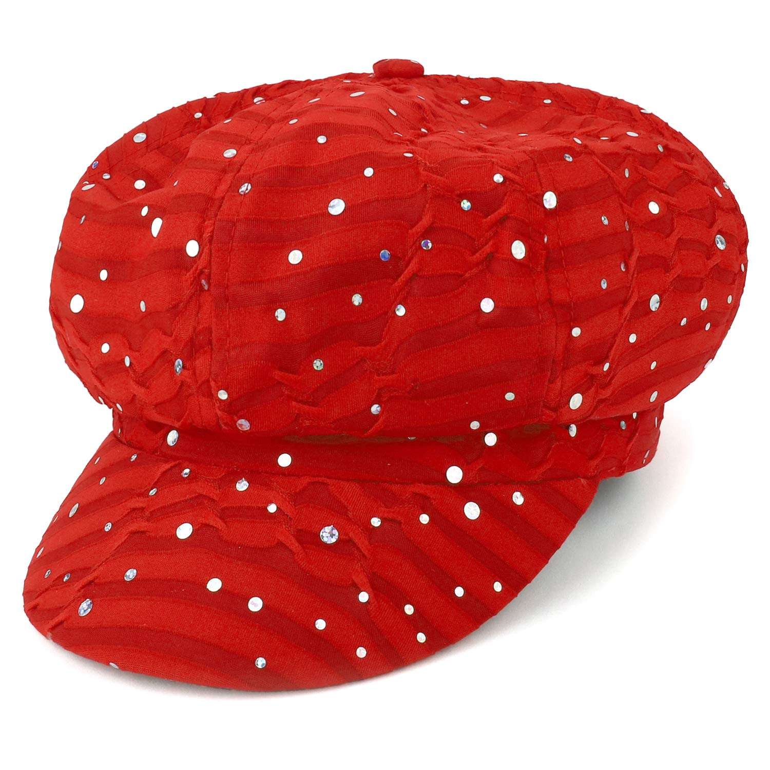Armycrew Elastic Band Sparkle Sequin Glitter Newsboy Cap - Red