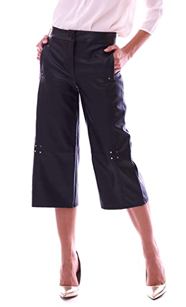 Trussardi Jeans Pantalone Largo In Eco Pelle Nero Amazonit