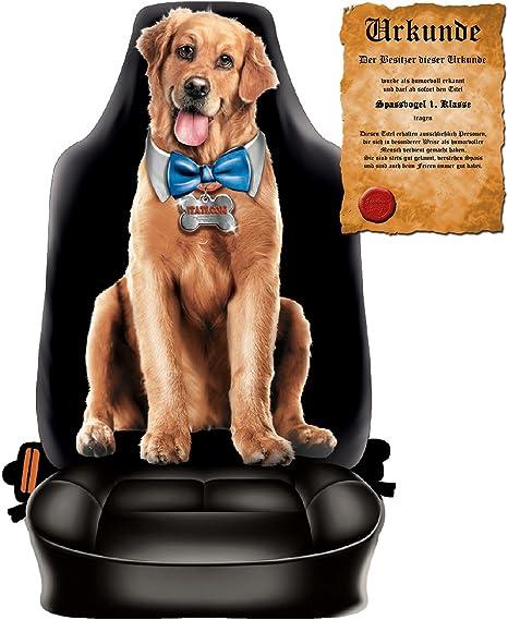 Scherzartikel Sitzbezug f/ür Autos Motiv Funny Dog f/ür Hundeliebhaber lustige Geschenkidee Autositzbezug mit lustiger Urkunde