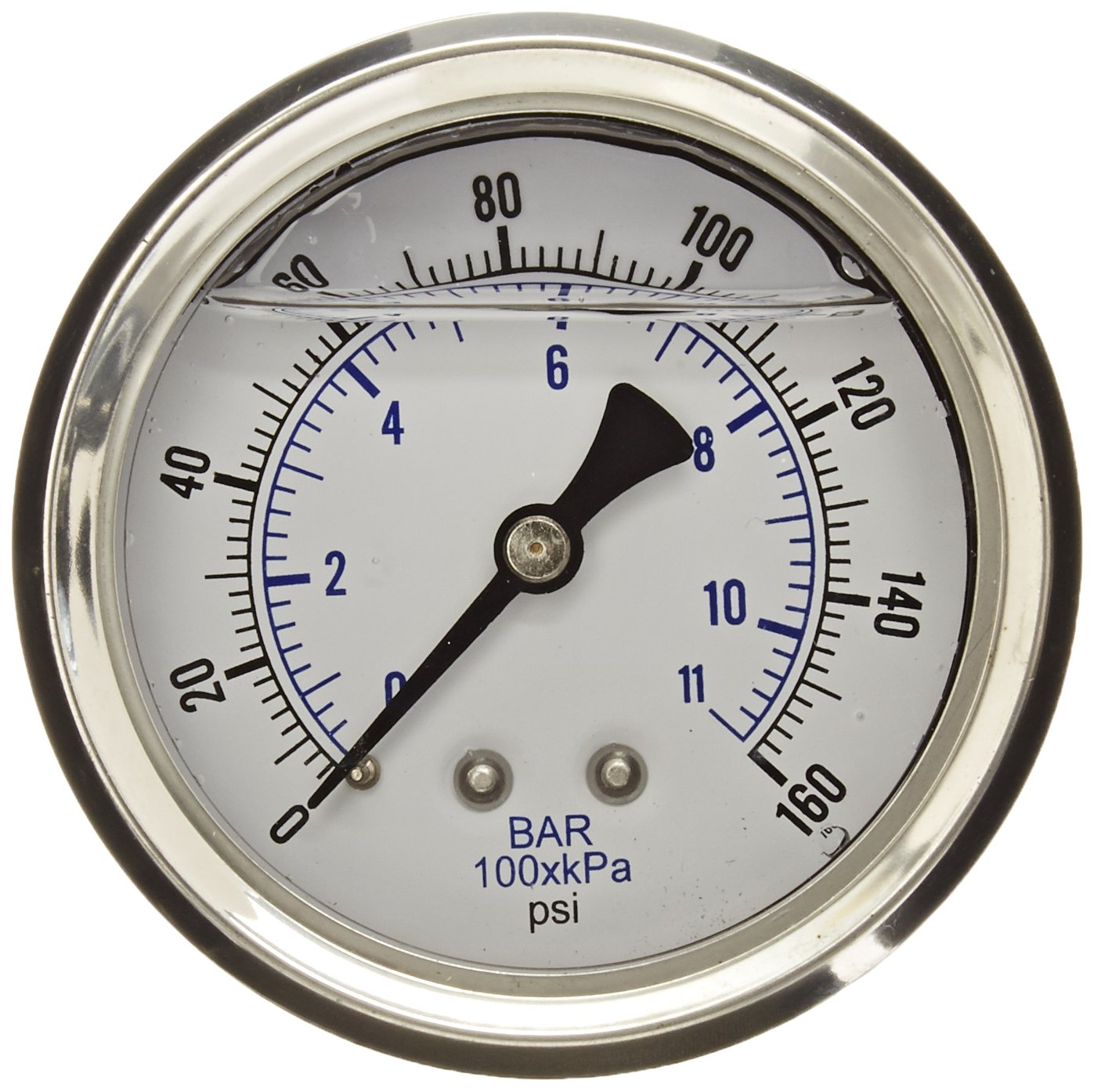 PIC Gauge PRO 202L 254F Glycerin Filled Industrial Center Back Mount Pressure Gauge with Stainless Steel Case Brass Internals Plastic Lens 2 1 2 Dial Size 1 4 Male NPT 0 160 psi