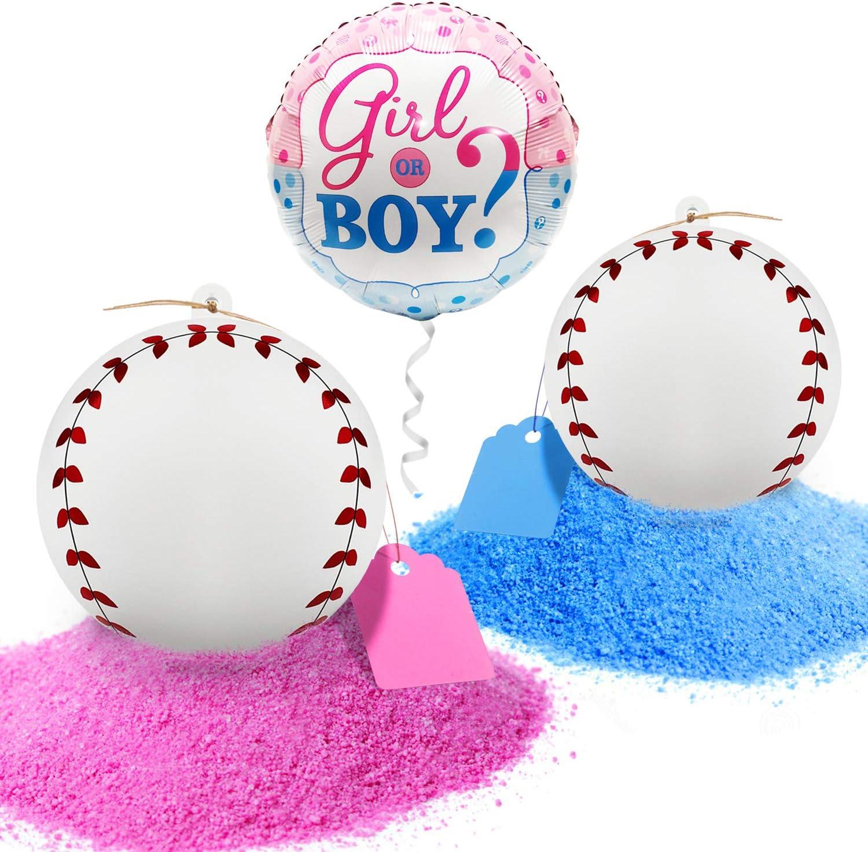 Gender Reveal Party Baseball Balls Pink and Blue Set Baby Shower Boy or Girl
