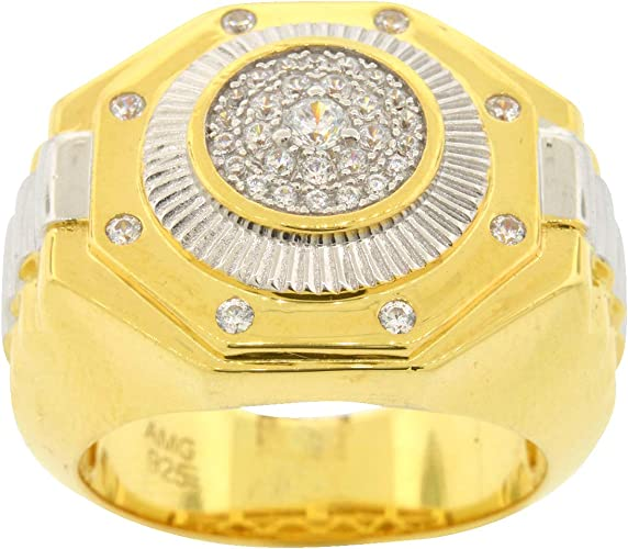Mens Two Tone Gold-and-Rhodium-Plated Sterling Silver Round Cut Cubic Zirconia Iced Out Cluster Style Ring Size 9.5