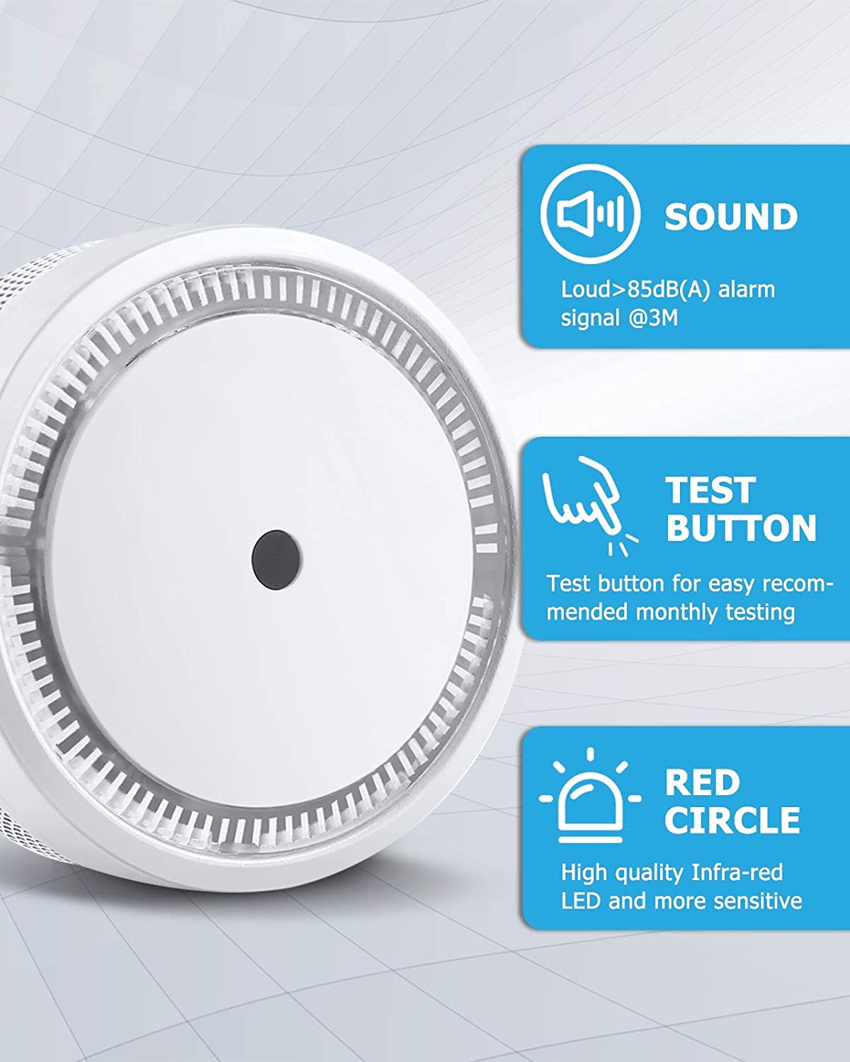 SITERLINK Smoke Alarm, Smoke Detector with Photoelectric Technology and Test&Silence Button, Small Fire Alarm with 10 Year of Life and Built-in Battery for House, UL Listed, GS522C-A, 1 Pack - -
