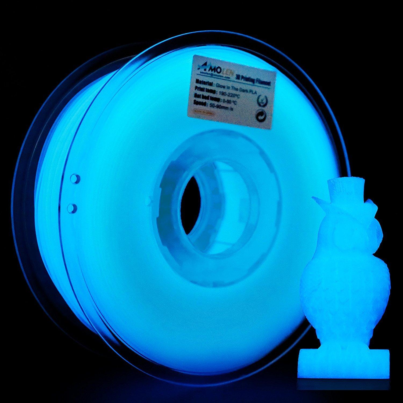 AMOLEN 3D Printer Filament, Glow in the Dark Blue PLA Filament 1.75mm +/- 0.03 mm, 2.2LBS(1KG), includes Sample Marble Filament. Glow in the Dark Blue PLAFilament1.75mm +/-0.03mm