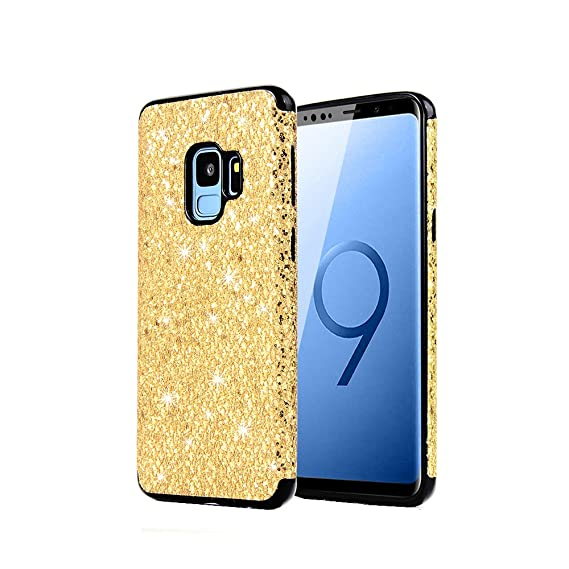 lowest price ff0b8 a1b0e S-9 Phone Case Compatible with Samsung Galaxy S9 Glitter Protective 9S  Cover Bling Sparkly Luxury Soft TPU Bumper 5.8 Inch(Gold)