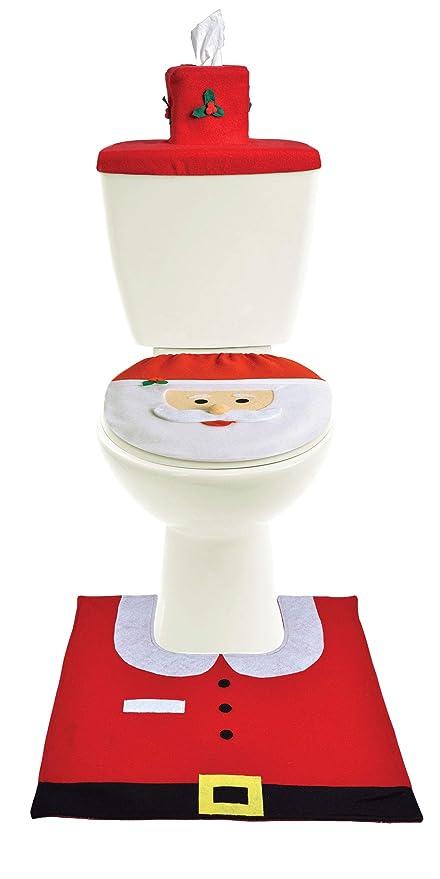 Amazon Com Santa Claus Bathroom Christmas Decorations 3 Piece Set