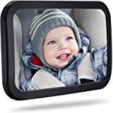 TOPELEK Rear Car Mirror for Viewing Baby 30 x 19 cm / 11.8 x 7.5 Inches, Shatterproof Material