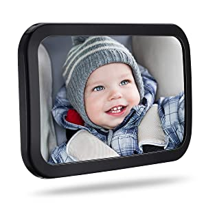 TopElek Baby Car Mirror, 360¡Adjustable Large Car Seat Mirror Rear Facing, 100_ Shatterproof Car Seat Mirror with Anti-Wobble Fixing Straps Quick Install