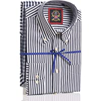 Janeo British Apparel Dos Camisas Hombre Manga Larga,Pack Doble Diseño Rayas y Cuadros,Mismo Color, Cuello con…