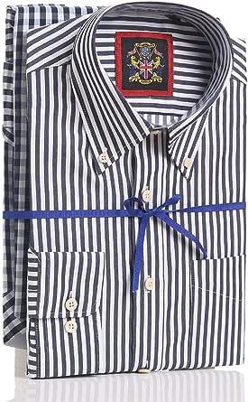 Janeo British Apparel Dos Camisas Hombre Manga Larga,Pack Doble Diseño Rayas y Cuadros,Mismo Color, Cuello con Botonadura y Bolsillo,Vestibilidad ...