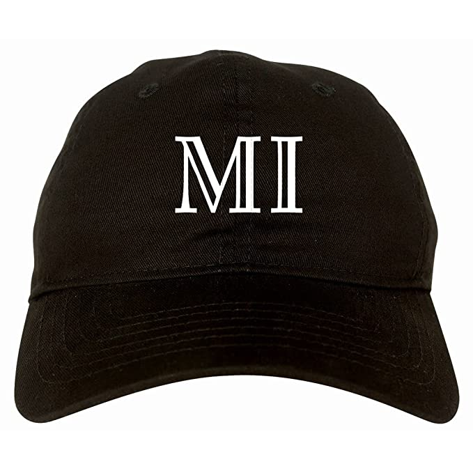 MI Michigan High Fashion Typography State 6 Panel Dad Hat Black at ... 354fa2cd0e5d