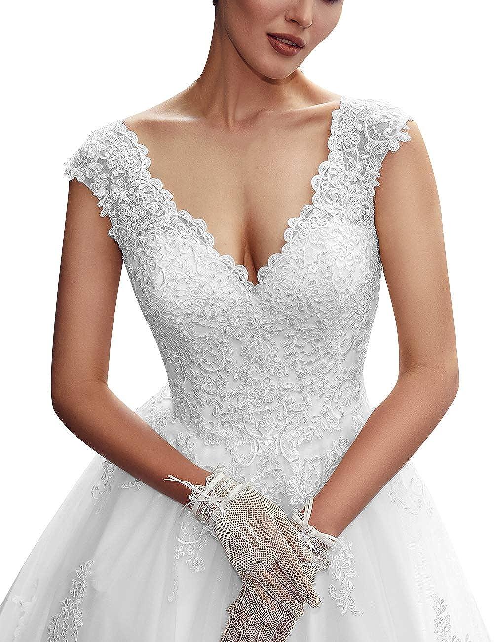A-Linie Spitze T/üll Brautkleider V-Ausschnitt Prinzessin Vintage Hochzeitskleider R/ückenfrei Wadenlang
