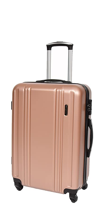 c8ec8f7ac2d9 Hard Shell ABS 4 Wheel Spinner Suitcase Travel Trolley Luggage Lightweight  H003 Rose Gold (Medium | 65x45x25cm/ 3.40KG)