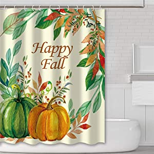 Tititex Shower Curtains for Bathroom Happy Fall Leaves Autumn Pumpkins Bath Decor Sets Polyester Waterproof Fabric 69 X 70 Inch with Hooks