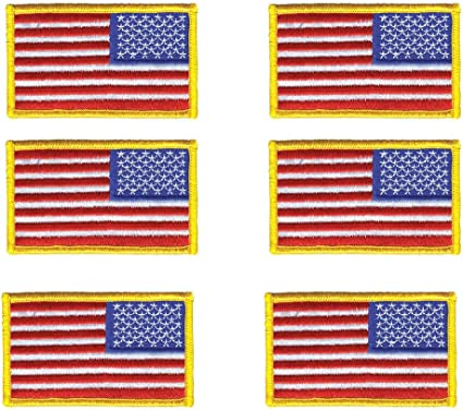 12 Pack Military//Army // Police Flag sew on American Flag Embroidered Patch US Flag Patch Gold Border USA United States of America